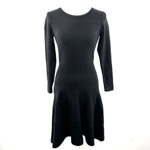 SANDRO TEXTURED KNIT FIT & FLARE SWEATER DRESS